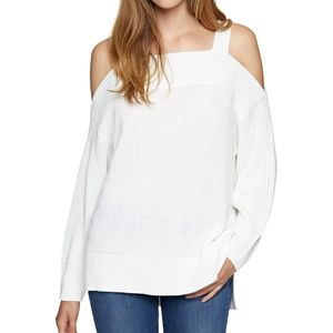Winter White High-Low Cold-Shoulder Sweater NWT S